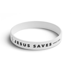 """Jesus Saves"" Wrist Band (White)"